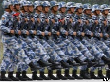 Chinese soldiers at a drill ahead of a military parade in Beijing, China, on 19 Sept 2009