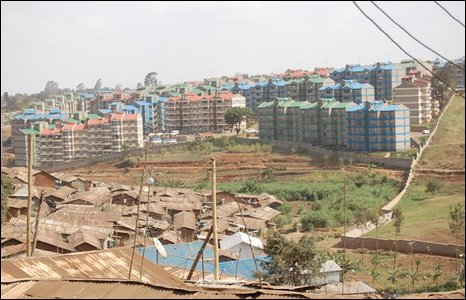 The new flats seen from the Kibera slum