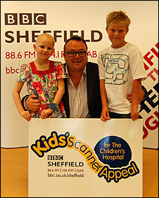 Grace, Toby and George launch the BBC Sheffield Kids' Scanner Appeal in September 2009
