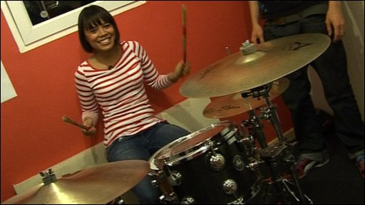 Leah playing the drums for Speech Debelle