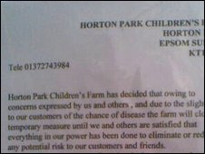 Closure notice at Horton Park farm entrance