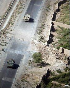 Roadside bomb blast site in Afghanistan