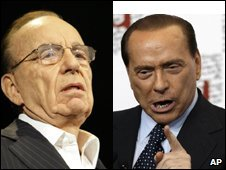 Rupert Murdoch and Silvio Berlusconi