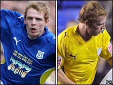 Chris Burke of Cardiff City wears a shirt with and without the logo