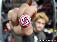 Man with anti-Nazi badge