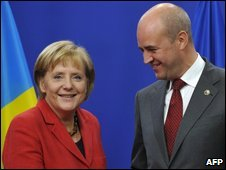 German Chancellor Angela Merkel and Swedish Prime Minister Fredrik Reinfeldt