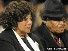 Katherine and Joe Jackson at Michael's funeral on 3 September