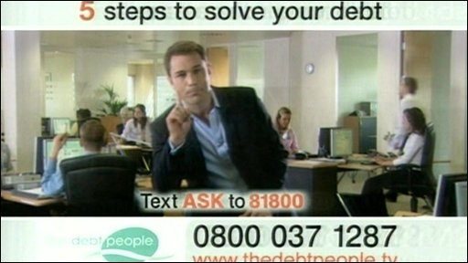 Still from TV advertisement for a debt management company