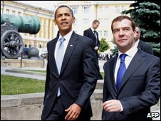 US President Obama and Russian President Medvedev in a file photo from July