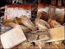 Leather products on display in a craft market in Brazzaville, Congo (credit Mitchell Eaton)