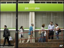 People outside a Job Centre in London