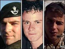 (L-R) Lance Corporal Tom Gaden, Lance Corporal Paul Upton and Rifleman Jamie Gunn