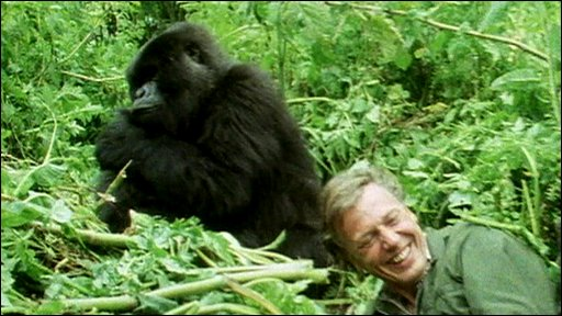 Titus with Sir David Attenborough: 1979