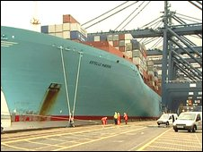 The Estelle Maersk docked at Felixstowe (Image: BBC)