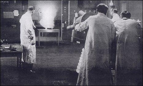 Matthews operating the Death Ray