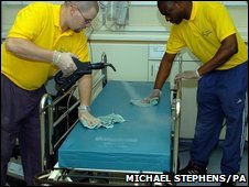 Hospital workers disinfecting a bed.
