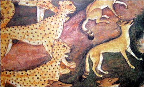 A Mughal painting showing cheetahs hunting leopards (Courtesy: Benares Hindu University, India)