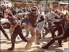 Scene from gay pride march in Belgrade  June 2001