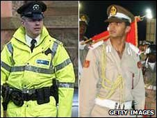 A PSNI officer (left) and a Libyan police graduate