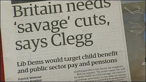 Front page of the Guardian leading with Lib Dems spending cuts pledge (19/09/2009)