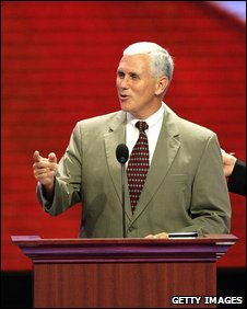 Republican Mike Pence addresses last year's Republican National Convention (2 Sept 2008)