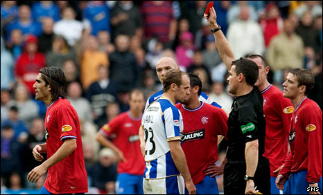 Rangers midfielder Pedro Mendes is sent off by referee Steve Conroy