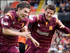 Ross Forbes celebrates scoring for Motherwell against Dundee United
