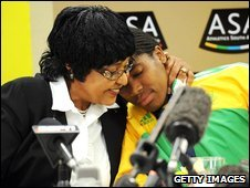 Winnie Mandela and Caster Semenya address reporters during a Team SA press conference,  Johannesburg (25 Aug 2009)