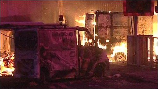 Vans on fire