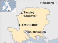 Map showing location of Tangley