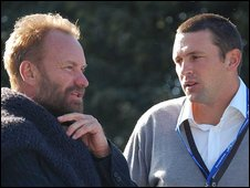 Musician Sting and Ashes-winning England cricketer Steve Harmison