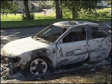 Burnt-out car in Craigavon