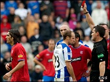 Pedro Mendes is sent off by Steve Conroy against Kilmarnock