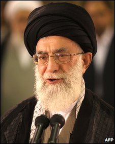 Iranian supreme leader Ayatollah Ali Khamenei delivering a speech during the presidential election, Tehran (12 June 2009)