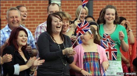 Family members welcome home soldiers from the 33 Armoured Engineer Squadron at Swinton Barracks