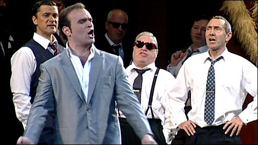 Michael Fabiano on stage in Rigoletto
