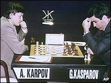 Anatoly Karpov and Garry Kasparov in 1991