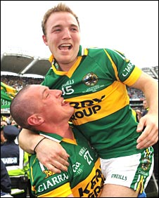 Kieran Donaghy lifts skipper Darren O'Sullivan in celebration after they defeated Cork in the 2009 final.