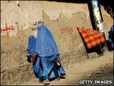 Afghan women on a roadside in the capital, Kabul