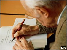 Elderly man taking an Alzheimer's test