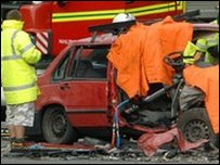Scene of a collision on the M4 in which five people died