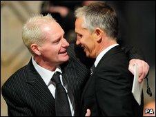 Paul Gascoigne hugs Gary Lineker