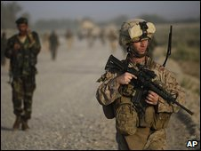 US soldier on patrol in Helmand province, Afghanistan