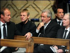 Footballers at the service for Sir Bobby