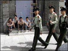 Police patrol Beijing - 20 Sept 2009