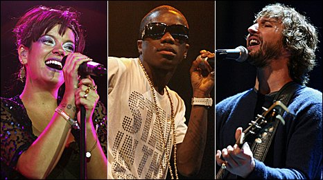 Lily Allen, Tinchy Stryder and James Blunt