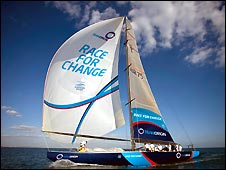 Team Origin boat with Race For Change branding