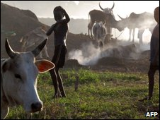 Children playing in a Nuer cattle camp outside the southern Sudanese town of Nassir in Upper Nile state