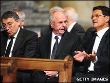 Graham Taylor, Sven Goran Eriksson and Fabio Cappello together at the service