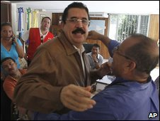 Ousted Honduran President Manuel Zelaya in the Brazilian embassy in Tegucigalpa (21 September 2009)